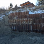 Steel Shoring Panels installed for Temporary Retaining Wall