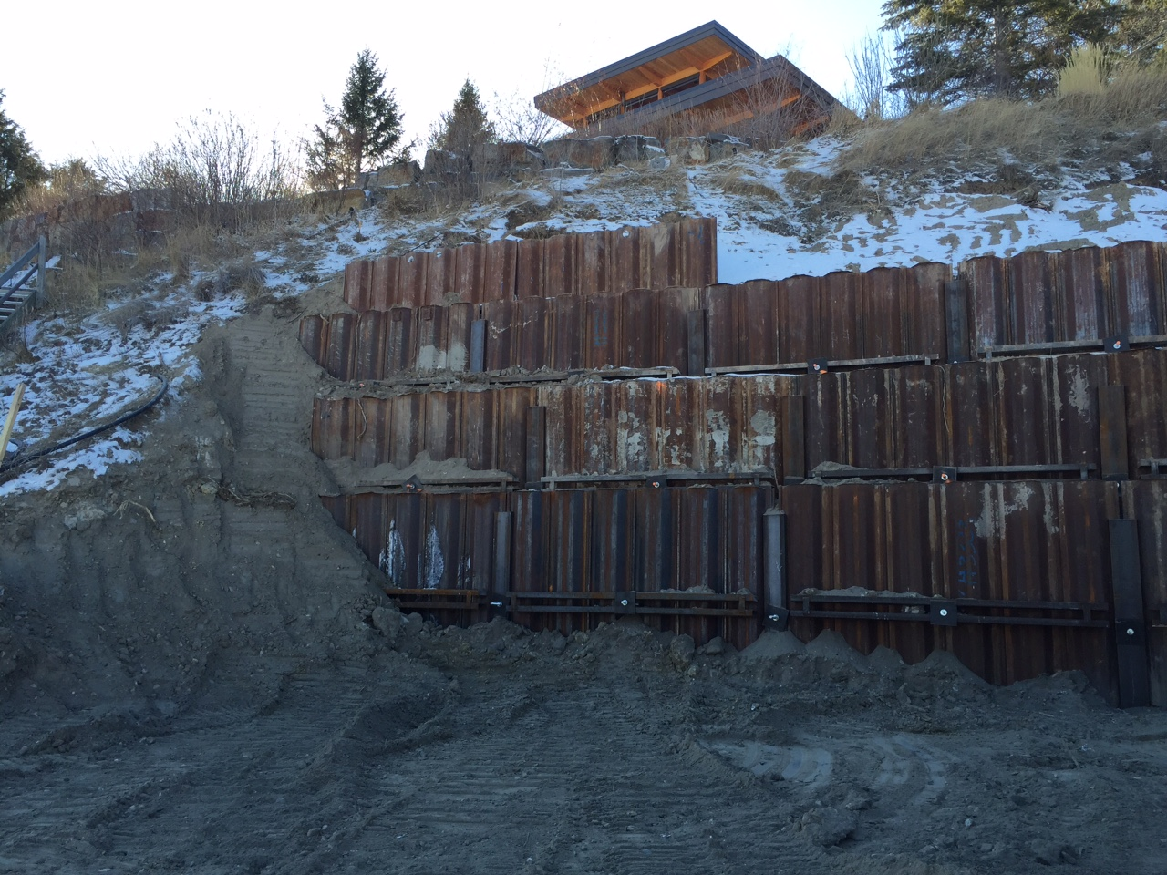 Steel Retaining Structures : Shoring panels helical screw piles reinhart